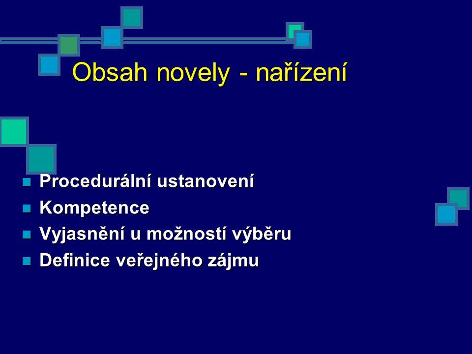 Obsah novely - nařízení Procedurální ustanovení Procedurální ustanovení Kompetence Kompetence Vyjasnění u možností výběru Vyjasnění u možností výběru