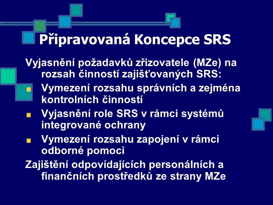 Připravovaná Koncepce SRS Vyjasnění požadavků zřizovatele (MZe) na rozsah činností zajišťovaných SRS: Vymezení rozsahu správních a zejména kontrolních činností Vyjasnění role SRS v rámci systémů integrované ochrany Vymezení rozsahu zapojení v rámci odborné pomoci Zajištění odpovídajících personálních a finančních prostředků ze strany MZe