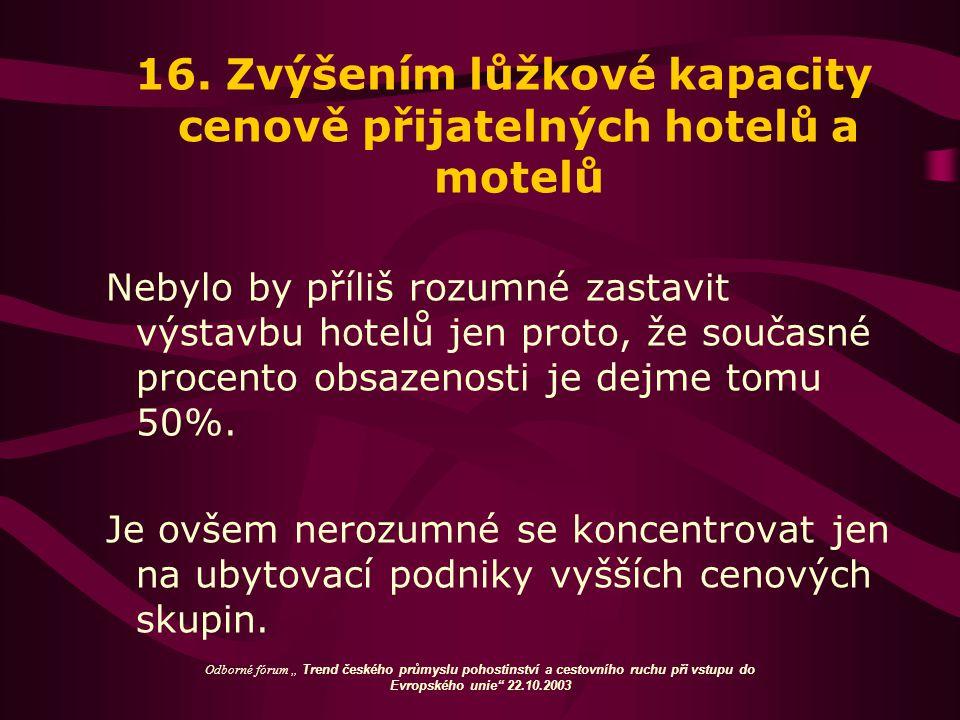 16. Zvýšením lůžkové kapacity cenově přijatelných hotelů a motelů Nebylo by příliš rozumné zastavit výstavbu hotelů jen proto, že současné procento ob
