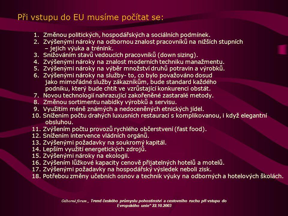 Při vstupu do EU musíme počítat se: 1. Změnou politických, hospodářských a sociálních podmínek. 2. Zvýšenými nároky na odbornou znalost pracovníků na