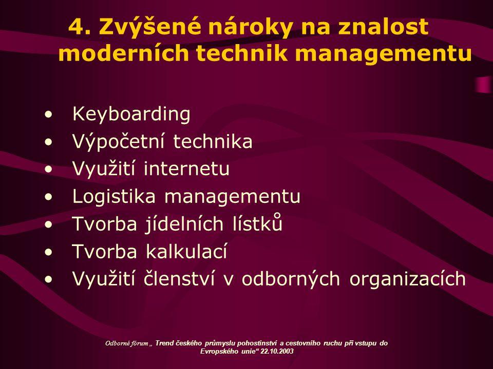 4. Zvýšené nároky na znalost moderních technik managementu Keyboarding Výpočetní technika Využití internetu Logistika managementu Tvorba jídelních lís