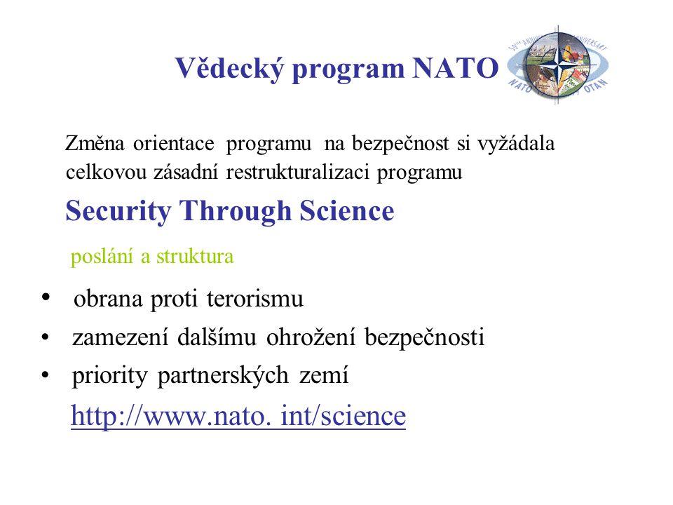 Vědecký program NATO Změna orientace programu na bezpečnost si vyžádala celkovou zásadní restrukturalizaci programu Security Through Science poslání a struktura obrana proti terorismu zamezení dalšímu ohrožení bezpečnosti priority partnerských zemí http://www.nato.