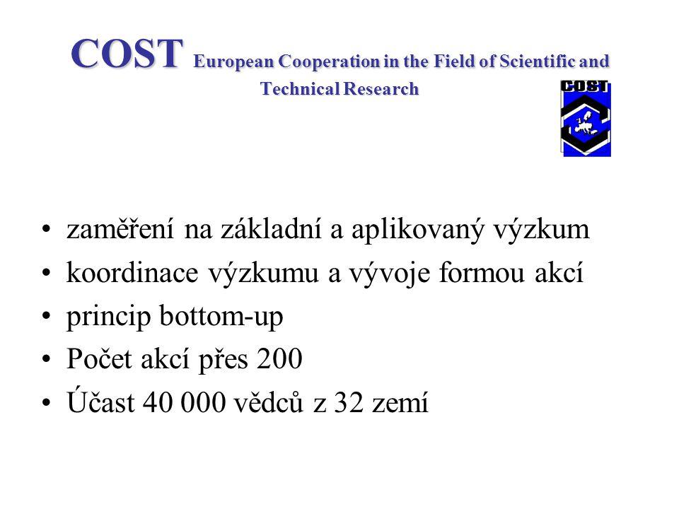 COST European Cooperation in the Field of Scientific and Technical Research zaměření na základní a aplikovaný výzkum koordinace výzkumu a vývoje formou akcí princip bottom-up Počet akcí přes 200 Účast 40 000 vědců z 32 zemí