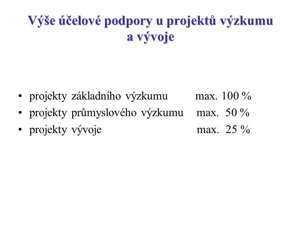 Možnosti navýšení státní dotace o 10 % uznaných nákladů, jestliže je podpora určena pro malé a střední podniky o 10 % uznaných nákladů, jestliže je projekt řešen na území ČR s vysokou nezaměstnaností o 5 % uznaných nákladů, jestliže je projekt řešen v určitém, vládou podporovaném odvětví o 15 % uznaných nákladů, jestliže je projekt řešen v rámci projektů Rámcového programu výzkumu a vývoje Evropské unie o 10 % nárok malých a středních podniků na navýšení z titulu nařízení komise ES
