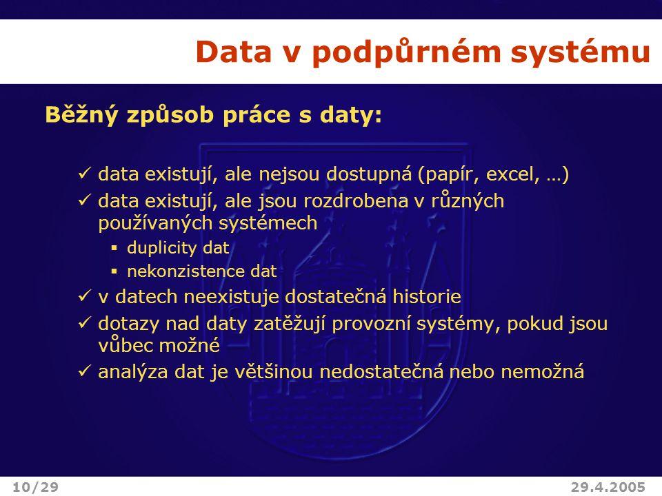 Data v podpůrném systému Běžný způsob práce s daty: data existují, ale nejsou dostupná (papír, excel, …) data existují, ale jsou rozdrobena v různých používaných systémech  duplicity dat  nekonzistence dat v datech neexistuje dostatečná historie dotazy nad daty zatěžují provozní systémy, pokud jsou vůbec možné analýza dat je většinou nedostatečná nebo nemožná 10/2929.4.2005