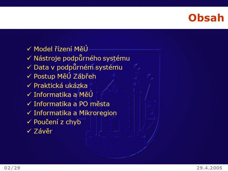 Obsah Model řízení MěÚ Nástroje podpůrného systému Data v podpůrném systému Postup MěÚ Zábřeh Praktická ukázka Informatika a MěÚ Informatika a PO města Informatika a Mikroregion Poučení z chyb Závěr 02/2929.4.2005