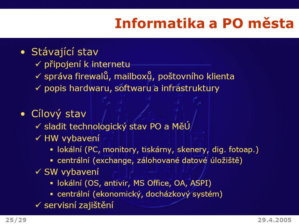 Informatika a PO města Stávající stav připojení k internetu správa firewalů, mailboxů, poštovního klienta popis hardwaru, softwaru a infrastruktury Cílový stav sladit technologický stav PO a MěÚ HW vybavení  lokální (PC, monitory, tiskárny, skenery, dig.