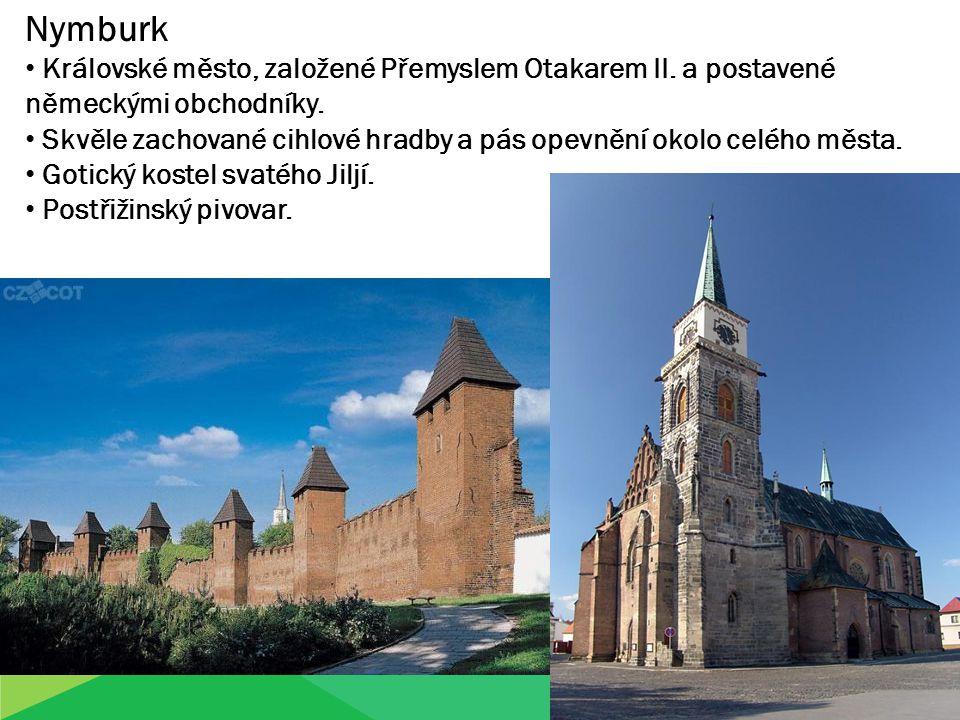Nymburk Královské město, založené Přemyslem Otakarem II. a postavené německými obchodníky. Skvěle zachované cihlové hradby a pás opevnění okolo celého