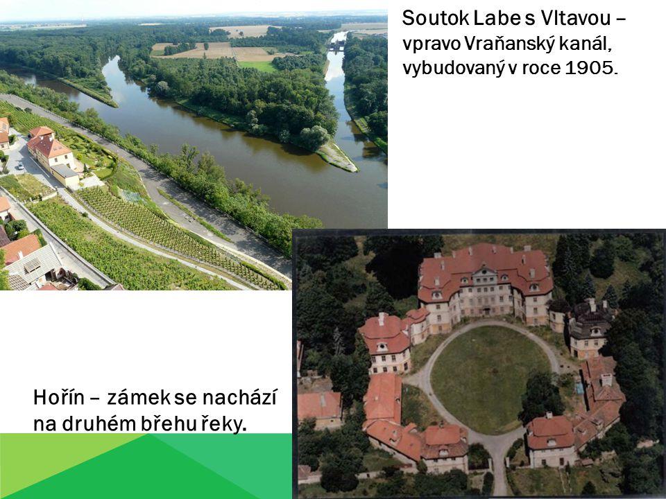 Soutok Labe s Vltavou – vpravo Vraňanský kanál, vybudovaný v roce 1905. Hořín – zámek se nachází na druhém břehu řeky.