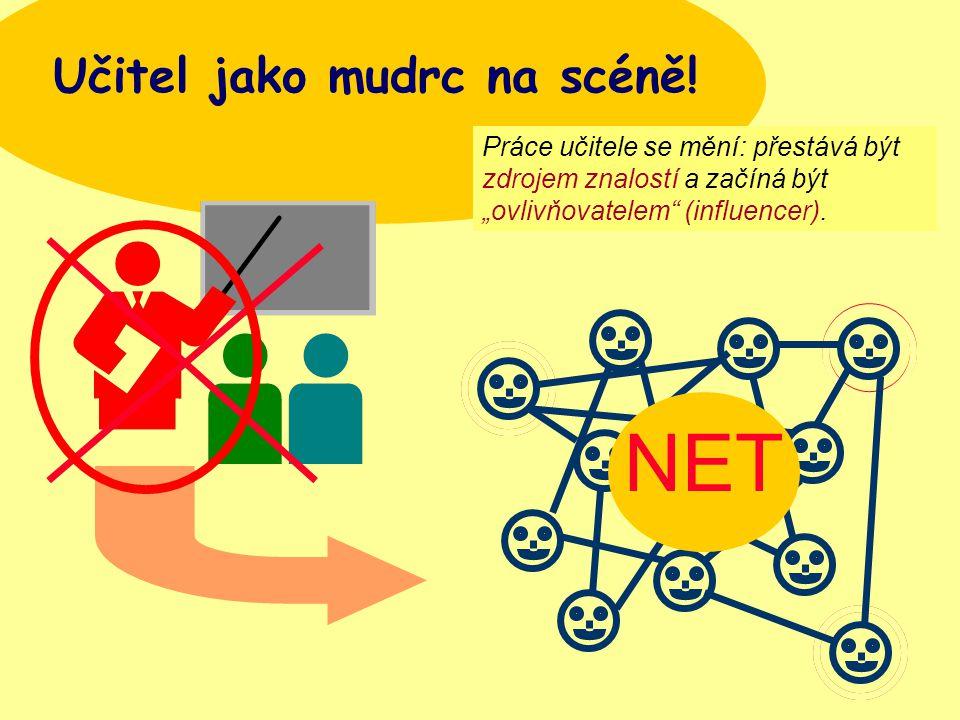 """Bauerová, Brno, MEFANET, 200713 Učitel jako mudrc na scéně! NET Práce učitele se mění: přestává být zdrojem znalostí a začíná být """"ovlivňovatelem"""" (in"""