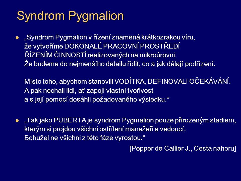 """Syndrom Pygmalion """"Syndrom Pygmalion v řízení znamená krátkozrakou víru, že vytvoříme DOKONALÉ PRACOVNÍ PROSTŘEDÍ ŘÍZENÍM ČINNOSTÍ realizovaných na mi"""