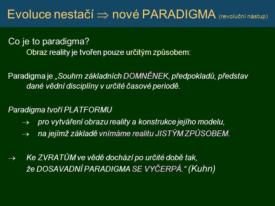 """Evoluce nestačí  nové PARADIGMA (revoluční nástup) Co je to paradigma? Obraz reality je tvořen pouze určitým způsobem: Paradigma je """"Souhrn základníc"""