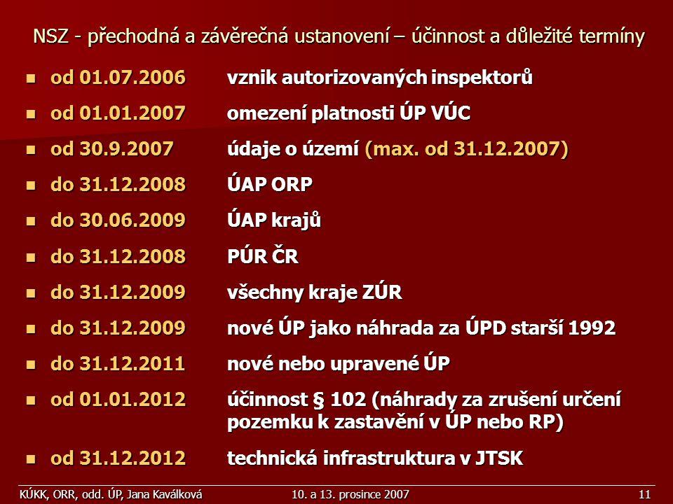 KÚKK, ORR, odd. ÚP, Jana Kaválková10. a 13. prosince 200711 NSZ - přechodná a závěrečná ustanovení – účinnost a důležité termíny od 01.07.2006vznik au