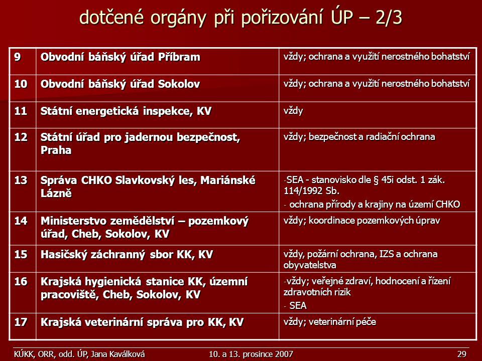 KÚKK, ORR, odd. ÚP, Jana Kaválková10. a 13. prosince 200729 9 Obvodní báňský úřad Příbram vždy; ochrana a využití nerostného bohatství 10 Obvodní báňs