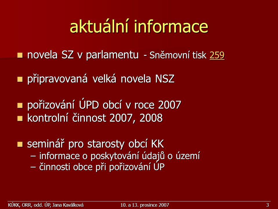 KÚKK, ORR, odd. ÚP, Jana Kaválková10. a 13. prosince 20073 aktuální informace novela SZ v parlamentu - Sněmovní tisk 259 novela SZ v parlamentu - Sněm