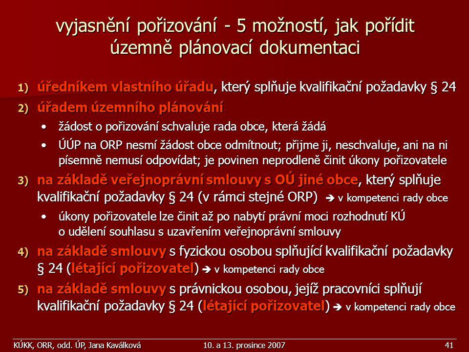 KÚKK, ORR, odd. ÚP, Jana Kaválková10. a 13. prosince 200741 vyjasnění pořizování - 5 možností, jak pořídit územně plánovací dokumentaci 1) úředníkem v