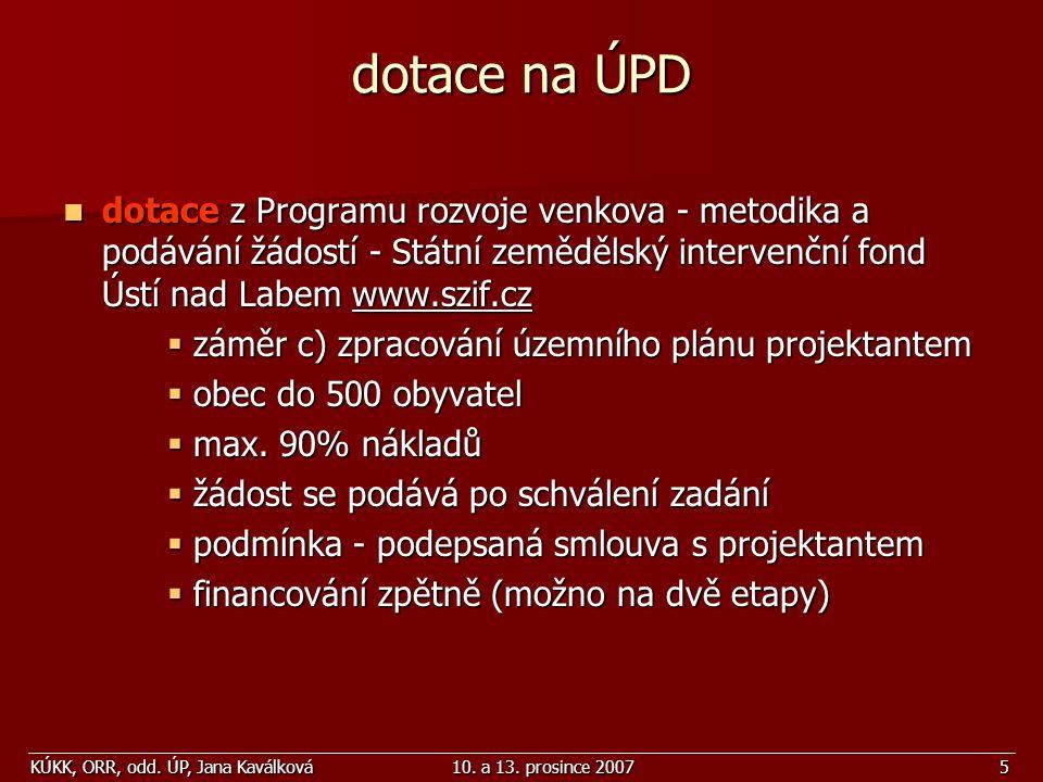 KÚKK, ORR, odd. ÚP, Jana Kaválková10. a 13. prosince 20075 dotace na ÚPD dotace z Programu rozvoje venkova - metodika a podávání žádostí - Státní země