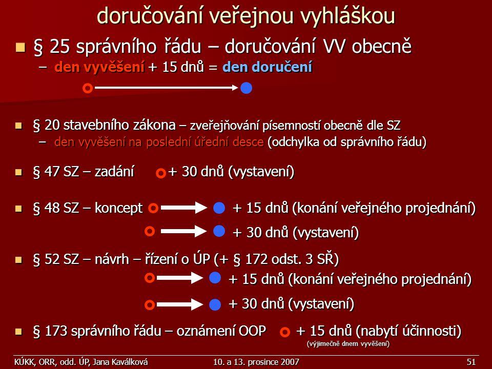 KÚKK, ORR, odd. ÚP, Jana Kaválková10. a 13. prosince 200751 doručování veřejnou vyhláškou § 25 správního řádu – doručování VV obecně § 25 správního řá