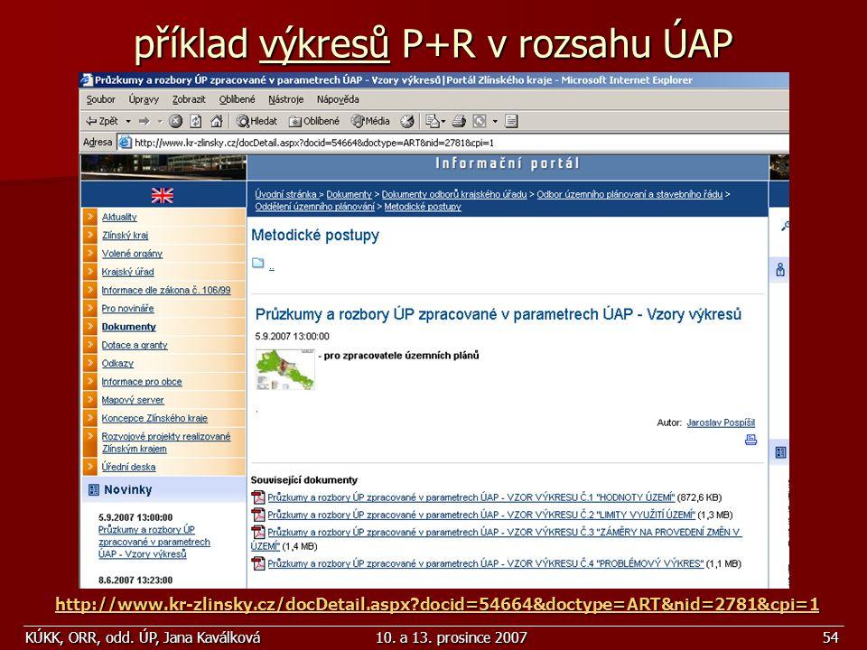 KÚKK, ORR, odd. ÚP, Jana Kaválková10. a 13. prosince 200754 příklad výkresů P+R v rozsahu ÚAP http://www.kr-zlinsky.cz/docDetail.aspx?docid=54664&doct