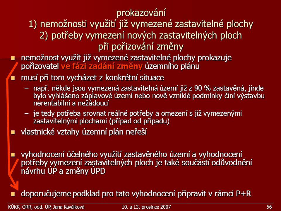 KÚKK, ORR, odd. ÚP, Jana Kaválková10. a 13. prosince 200756 prokazování 1) nemožnosti využití již vymezené zastavitelné plochy 2) potřeby vymezení nov