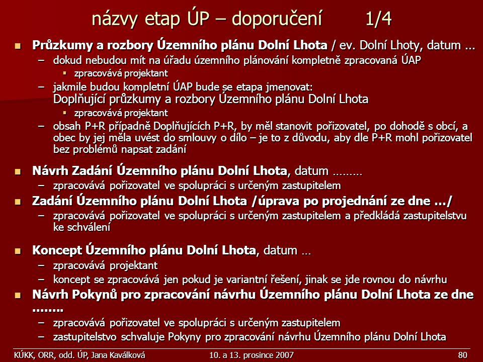 KÚKK, ORR, odd. ÚP, Jana Kaválková10. a 13. prosince 200780 názvy etap ÚP – doporučení 1/4 Průzkumy a rozbory Územního plánu Dolní Lhota / ev. Dolní L
