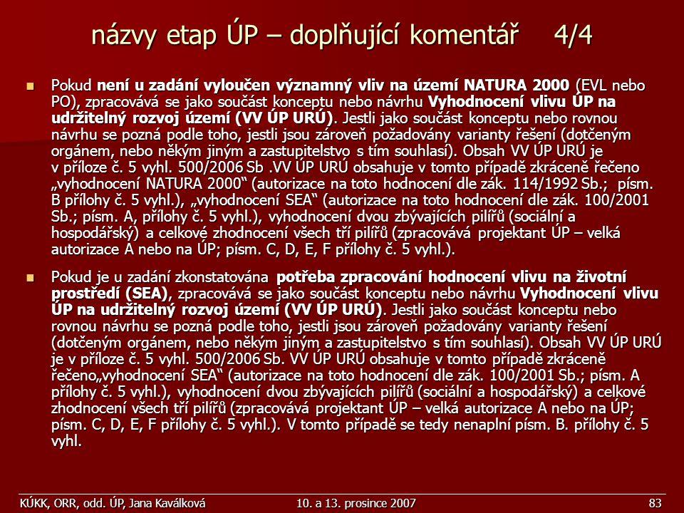 KÚKK, ORR, odd. ÚP, Jana Kaválková10. a 13. prosince 200783 názvy etap ÚP – doplňující komentář 4/4 Pokud není u zadání vyloučen významný vliv na územ