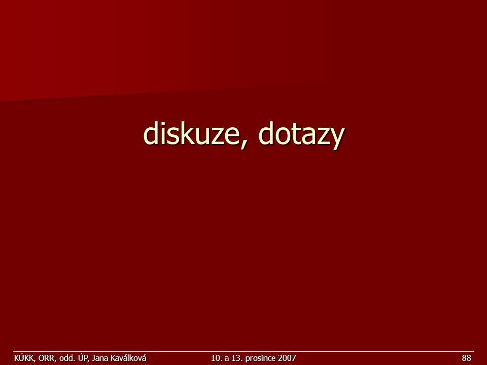 KÚKK, ORR, odd. ÚP, Jana Kaválková10. a 13. prosince 200788 diskuze, dotazy