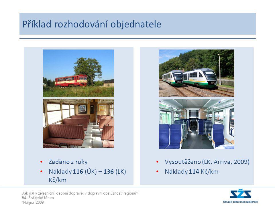 Jak dál v železniční osobní dopravě, v dopravní obslužnosti regionů? 94. Žofínské fórum 14.října 2009 Vysoutěženo (LK, Arriva, 2009) Náklady 114 Kč/km