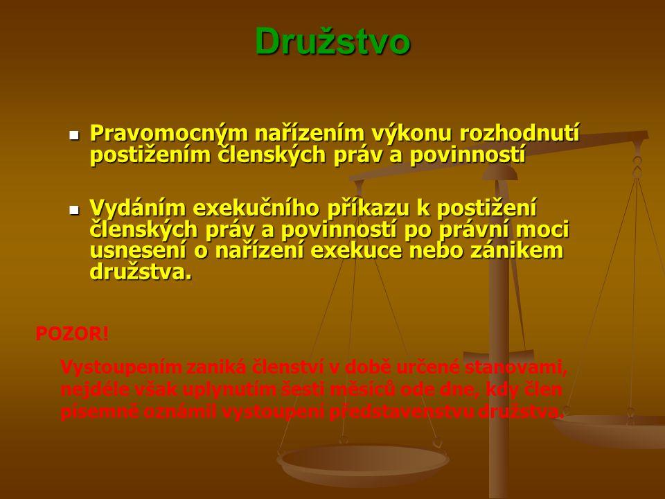 Družstvo Pravomocným nařízením výkonu rozhodnutí postižením členských práv a povinností Pravomocným nařízením výkonu rozhodnutí postižením členských p