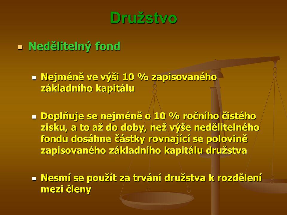 Družstvo Nedělitelný fond Nedělitelný fond Nejméně ve výši 10 % zapisovaného základního kapitálu Nejméně ve výši 10 % zapisovaného základního kapitálu