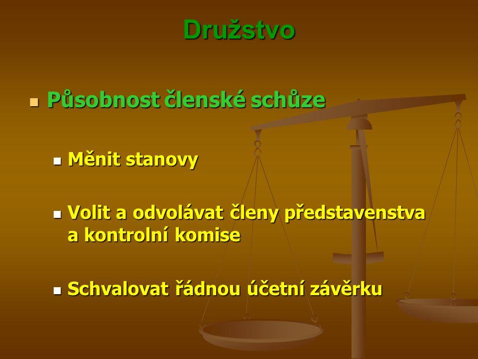 Družstvo Působnost členské schůze Působnost členské schůze Měnit stanovy Měnit stanovy Volit a odvolávat členy představenstva a kontrolní komise Volit