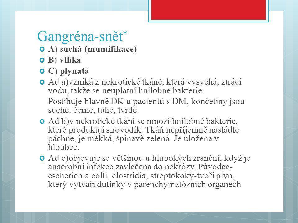 Gangréna-snětˇ  A) suchá (mumifikace)  B) vlhká  C) plynatá  Ad a)vzniká z nekrotické tkáně, která vysychá, ztrácí vodu, takže se neuplatní hnilobné bakterie.