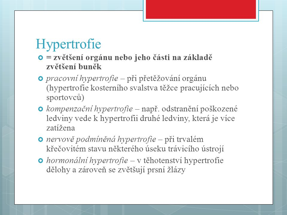 Hypertrofie  = zvětšení orgánu nebo jeho části na základě zvětšení buněk  pracovní hypertrofie – při přetěžování orgánu (hypertrofie kosterního svalstva těžce pracujících nebo sportovců)  kompenzační hypertrofie – např.