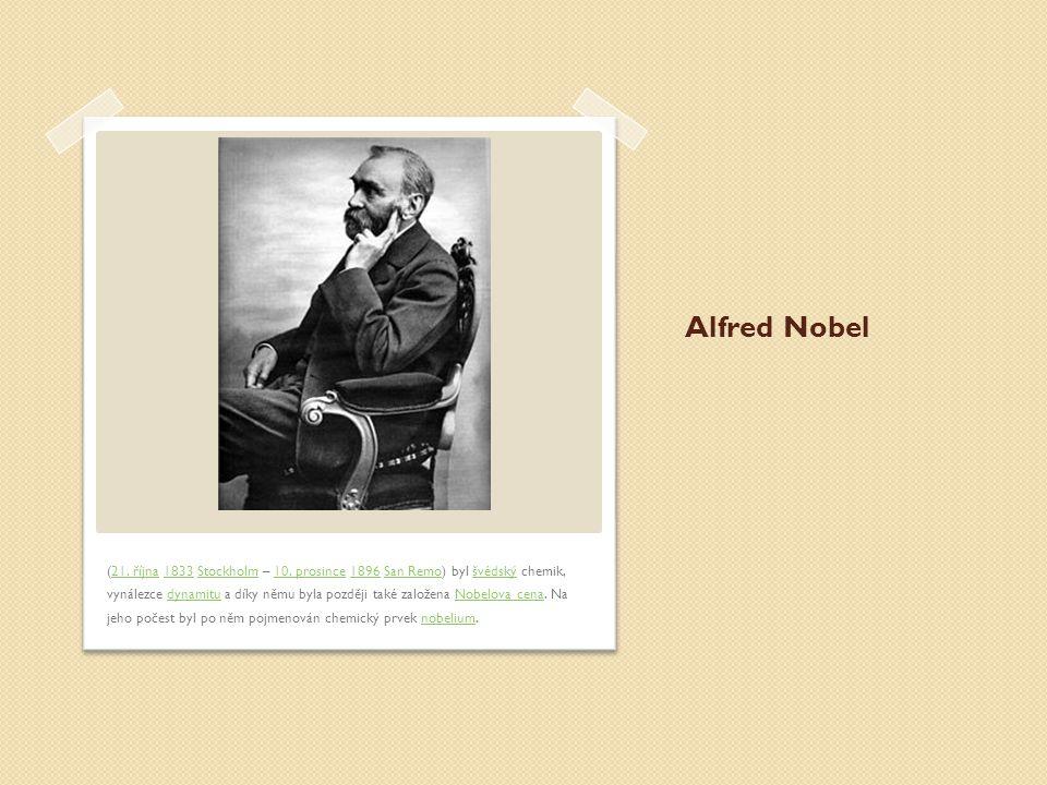 Alfred Nobel (21.října 1833 Stockholm – 10.