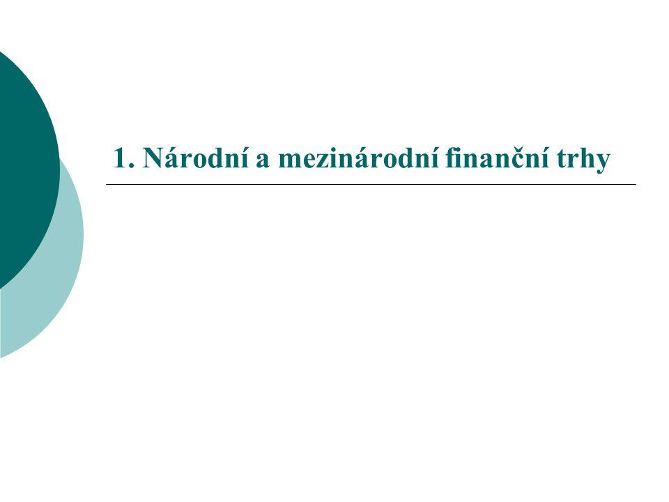 1. Národní a mezinárodní finanční trhy