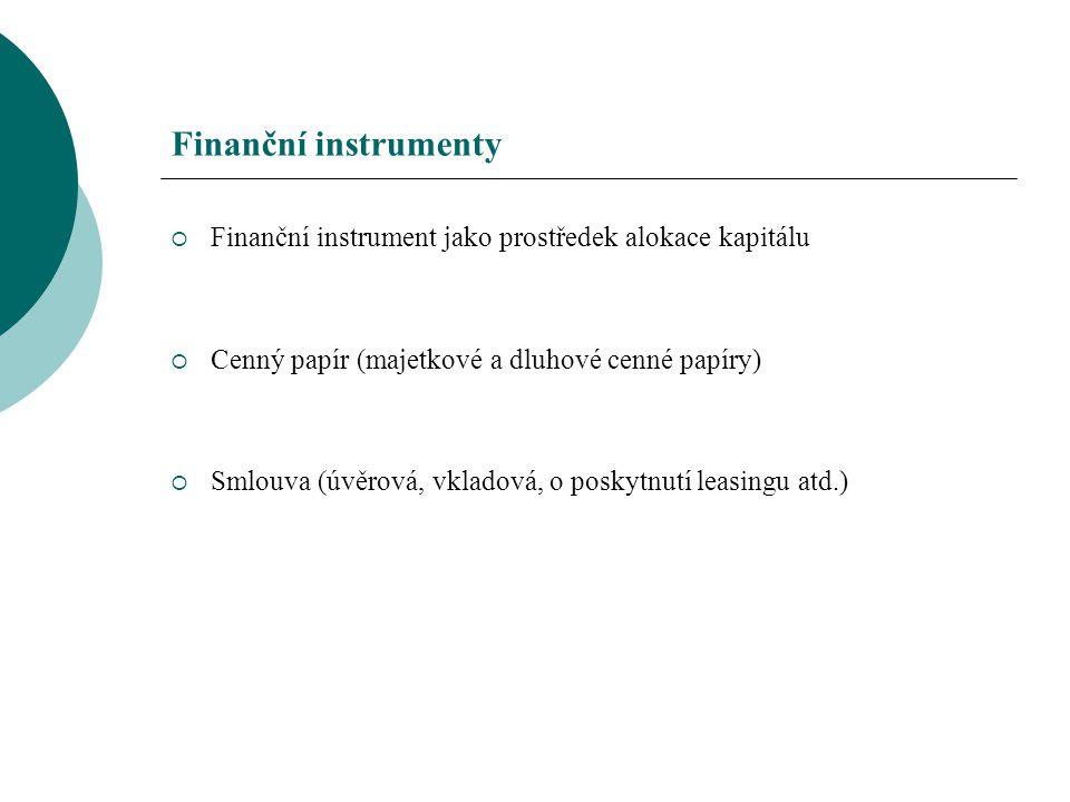 Finanční instrumenty  Finanční instrument jako prostředek alokace kapitálu  Cenný papír (majetkové a dluhové cenné papíry)  Smlouva (úvěrová, vklad