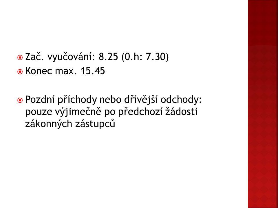  Zač. vyučování: 8.25 (0.h: 7.30)  Konec max. 15.45  Pozdní příchody nebo dřívější odchody: pouze výjimečně po předchozí žádosti zákonných zástupců