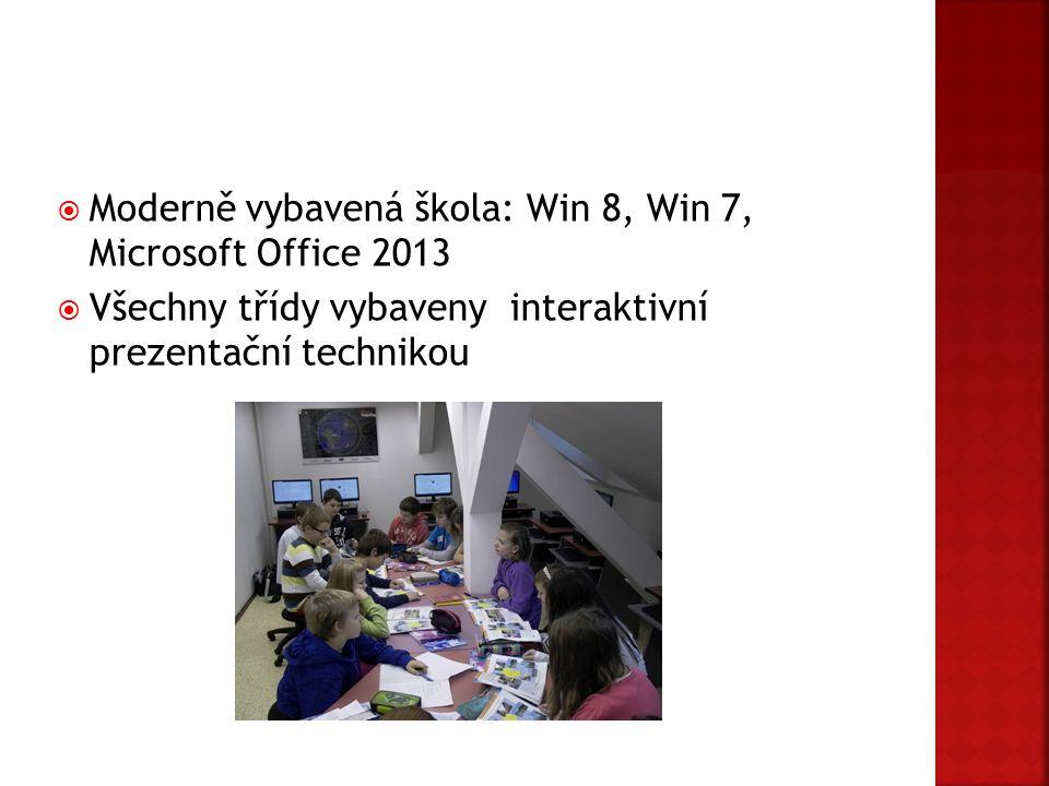  Moderně vybavená škola: Win 8, Win 7, Microsoft Office 2013  Všechny třídy vybaveny interaktivní prezentační technikou