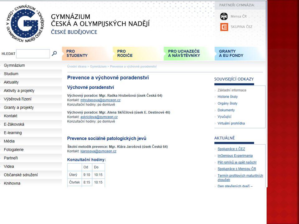  Formulář osobní údaje  Generální souhlas  Seznámení se šk. řádem  Spolek