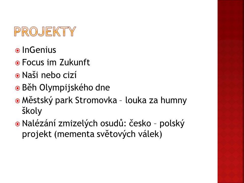  InGenius  Focus im Zukunft  Naši nebo cizí  Běh Olympijského dne  Městský park Stromovka – louka za humny školy  Nalézání zmizelých osudů: česko – polský projekt (mementa světových válek)