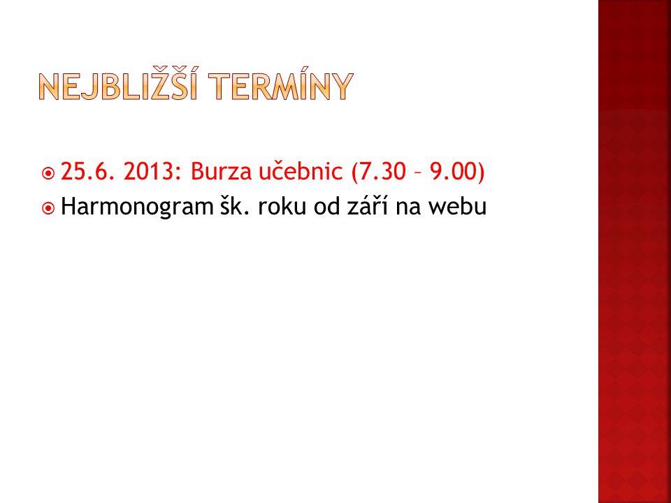  25.6. 2013: Burza učebnic (7.30 – 9.00)  Harmonogram šk. roku od září na webu