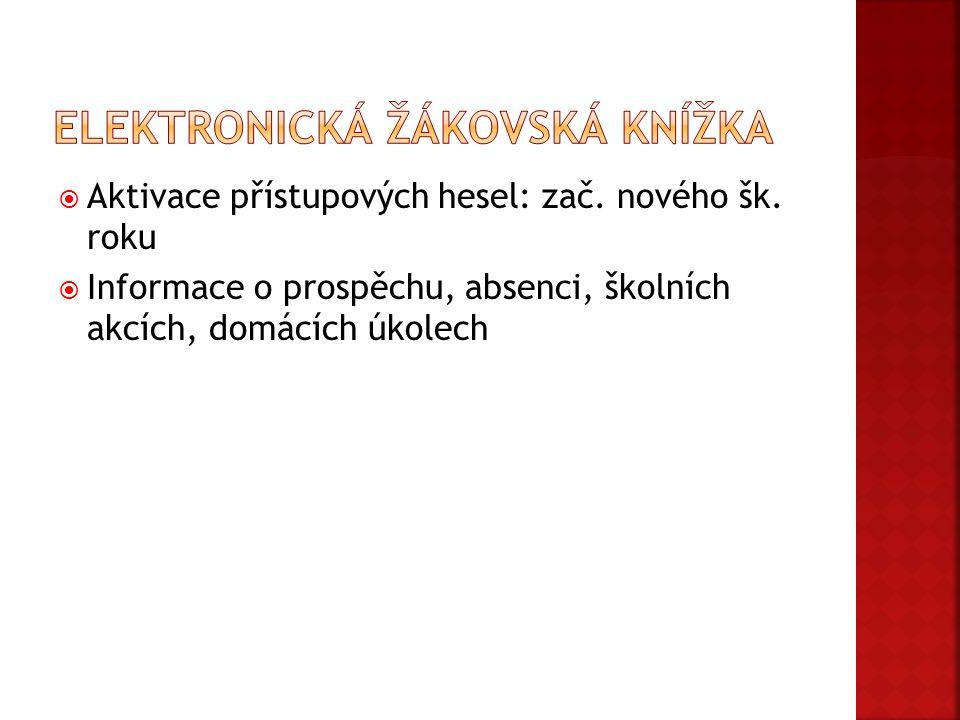  Aktivace přístupových hesel: zač. nového šk. roku  Informace o prospěchu, absenci, školních akcích, domácích úkolech