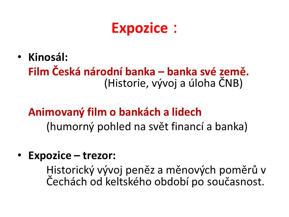 Expozice : Kinosál: Film Česká národní banka – banka své země.