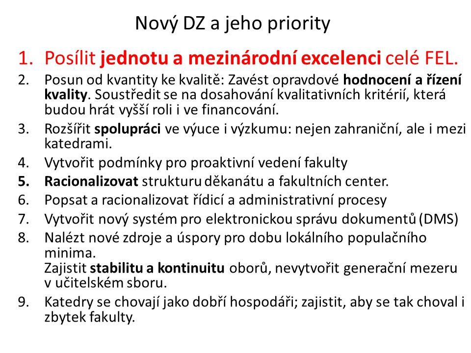Nový DZ a jeho priority 1.Posílit jednotu a mezinárodní excelenci celé FEL.