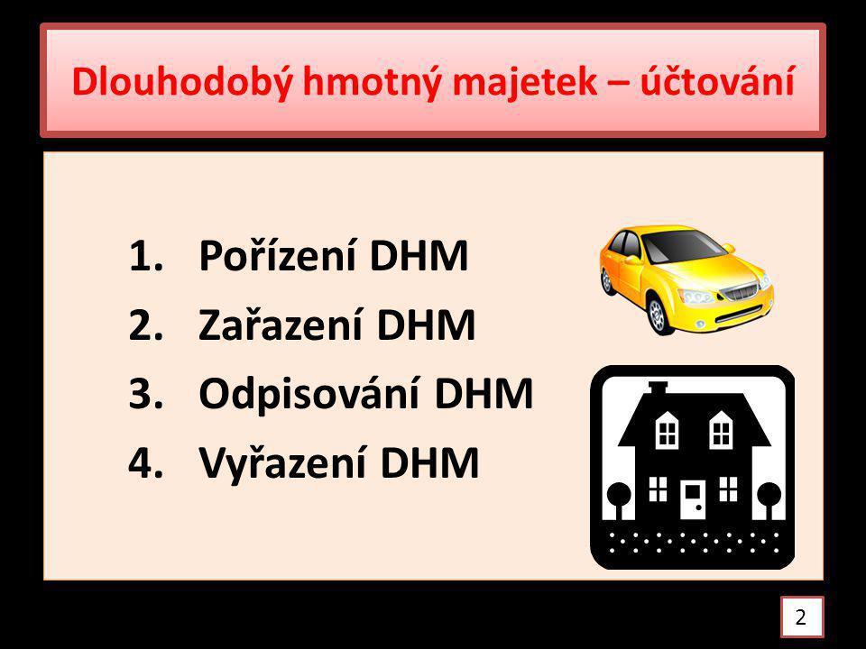Pořízení DHM nákupem Ocenění DHM – pořizovací cenou Pořizovací cena = cena pořízení + vedlejší pořizovací náklady Náklady spojené s pořízením DHM se soustřeďují na 042 Pořízení DHM /Md/ 3