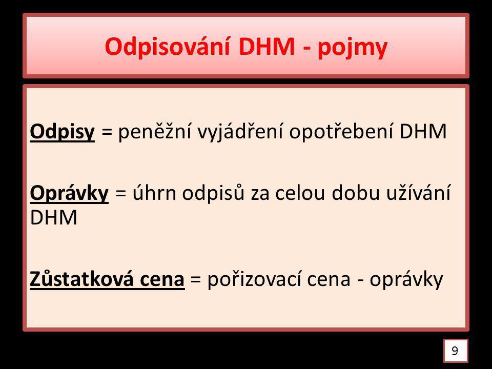 Odpisování DHM - pojmy Odpisy = peněžní vyjádření opotřebení DHM Oprávky = úhrn odpisů za celou dobu užívání DHM Zůstatková cena = pořizovací cena - oprávky 9