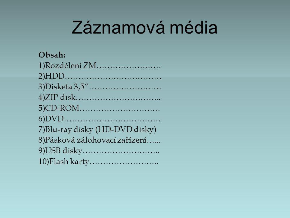 Záznamová média Obsah: 1)Rozdělení ZM…………………… 2)HDD……………………………… 3)Disketa 3,5 ……………………… 4)ZIP disk…………………………..