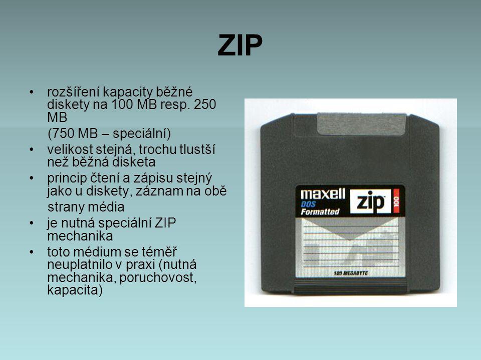 ZIP rozšíření kapacity běžné diskety na 100 MB resp.