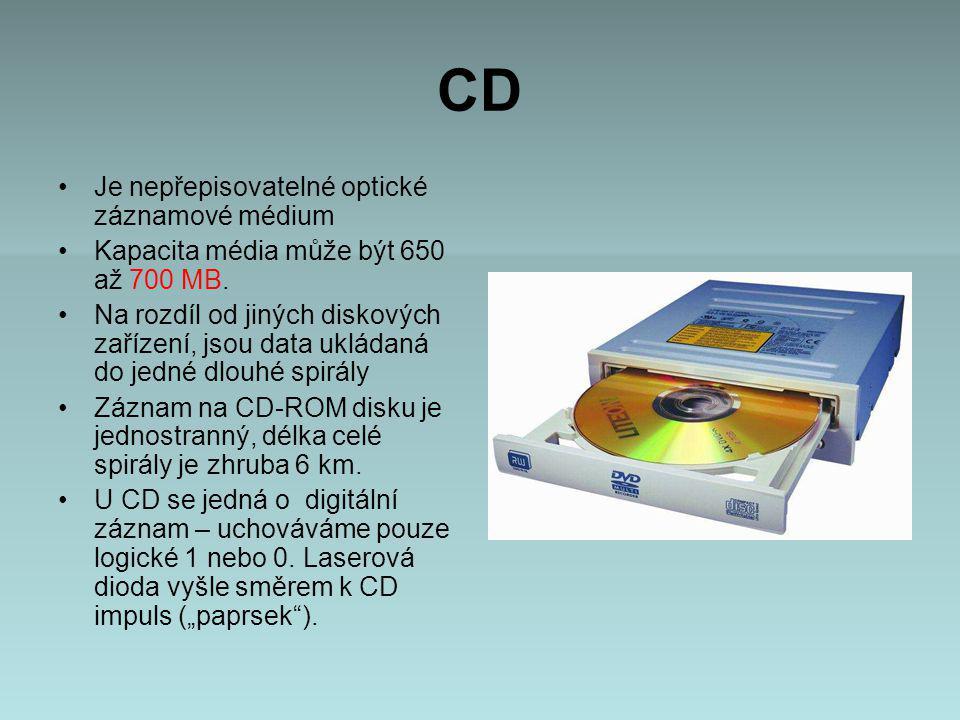 CD Je nepřepisovatelné optické záznamové médium Kapacita média může být 650 až 700 MB.