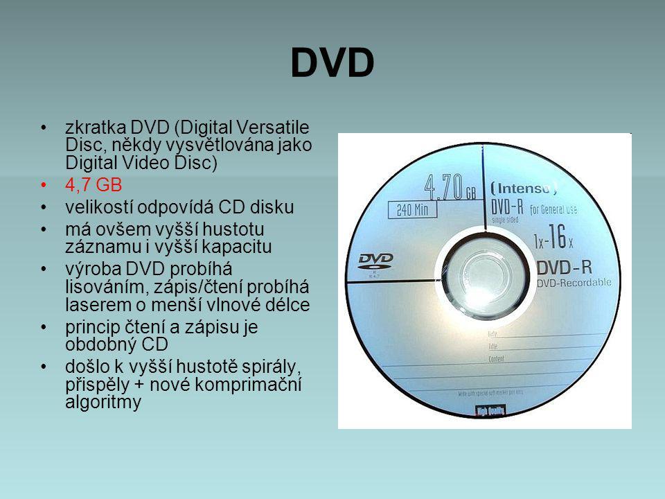 DVD zkratka DVD (Digital Versatile Disc, někdy vysvětlována jako Digital Video Disc) 4,7 GB velikostí odpovídá CD disku má ovšem vyšší hustotu záznamu i vyšší kapacitu výroba DVD probíhá lisováním, zápis/čtení probíhá laserem o menší vlnové délce princip čtení a zápisu je obdobný CD došlo k vyšší hustotě spirály, přispěly + nové komprimační algoritmy